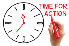 Time for Action. Writing Time for Action concept with red marker on transparent wipe board royalty free stock photography