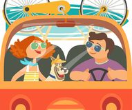 Time for adventure. Dog days of summer poster concept. Young happy travellers trip by van to beach. Family microbus journey. Vacation touring by auto. Cute Royalty Free Stock Photos