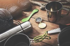 Time for adventures - set of expedition camping equipment royalty free stock photography