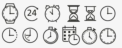 Free Time And Clock Line Icons. Vector Linear Icon Set Royalty Free Stock Image - 134808766