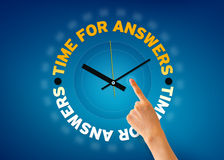 Time for Answers. Hand pointing at a Time for Answers clock illustration on blue background Stock Photography