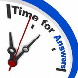 Time for answers. Word written over a clock dial, blue dial, concept of seeking answers Stock Photos