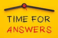 Time for Answers Concept. Time for Answers written on yellow clock royalty free stock photos