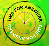Time For Answers Represents Knowhow Assist And Help Stock Image