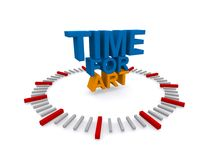 Time for art. Clock marked out in red and gray (hours and twelve minute intervals) with text 'time for art' in uppercase blue and yellow letters, white stock illustration