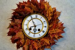 The time of autumn. Autumn wreath of beautiful colorful maple leaves. Leaves are different yellow and red stock image