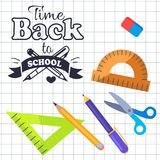 Time Back to School Inscription with Logo Vector. Time back to school logo made of two pens, stationery set wooden protractor , pencils and scissors, plastic Royalty Free Stock Image