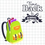 Time Back to School Poster Rucksack on Leaflet Stock Photography
