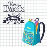 Time Back to School Poster Rucksack on Leaflet. Time back to school poster with open schoolbag with stationary elements pencil, paper notebook, triangular ruler Royalty Free Stock Photo