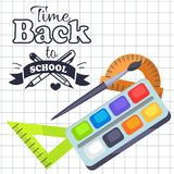 Time Back to School Poster with Pens, Stationery Royalty Free Stock Photography