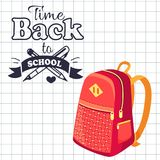Time Back to School Poster Rucksack on Leaflet. Time back to school poster with fashionable model of kids backpack in red and orange colors with metal zippers Royalty Free Stock Photos