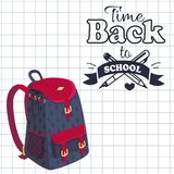 Time Back to School Poster Rucksack on Leaflet. Time back to school poster with fashionable model of kids backpack in dark blue and violet colors with metal Royalty Free Stock Photos