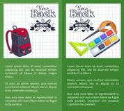 Time Back to School Posters Rucksack on Leaflet. Time back to school posters with schoolbag and set of stationary elements as rulers,paints and brush, wooden Royalty Free Stock Photos