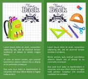 Time Back to School Posters Rucksack on Leaflet. Time back to school posters with schoolbag and set of stationary elements as ruler, scissors, pen and pencil Stock Image