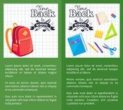 Time Back to School Posters Rucksack on Leaflet. Time back to school posters with schoolbag and set of stationary elements as ruler, scissors, pen and pencil Royalty Free Stock Photo