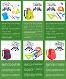 Time Back to School Posters with Schoolbags Books Royalty Free Stock Image