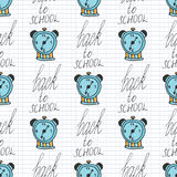 Time back to school seamless pattern with alarm Stock Image