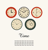 Time banner with set of round clocks. Collection of clocks Royalty Free Stock Photography