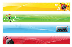 Time Banners. Vector illustration of 4 banner designs with alarm clock, hourglass, digital clock, and stopwatch Stock Photos