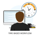 Time-Based Workflow Icon. With freelancer desktop and clock vector illustration