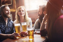 Time for beer with friends royalty free stock photos