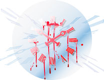 Time blood. Colorful illustration of a clock with blood running down Royalty Free Stock Image