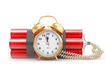 Time bomb with alarm clock detonator. Dynamit Stock Photography