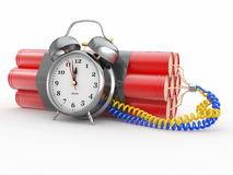Time bomb with alarm clock detonator. Dynamit Stock Photo