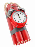 Time bomb with alarm clock detonator. Dynamit. 3d Stock Image