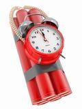Time bomb with alarm clock detonator. Dynamit. 3d Stock Image