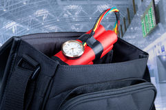 Time bomb in a backpack Royalty Free Stock Photo