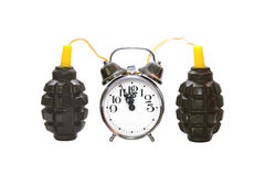 Time bomb connected to the alarm clock Stock Images