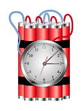 Time bomb connected to clock explodes Stock Photo