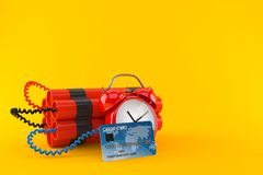 Time bomb with credit card. On orange background. 3d illustration Royalty Free Stock Photography