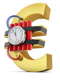 Time bomb on euro symbol. Concept of economic crisis Stock Image