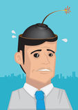 Time Bomb in the Head Vector Cartoon Illustration Stock Photo