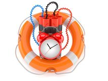 Time bomb with life buoy Stock Photo