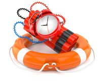 Time bomb with life buoy. On white background Stock Image