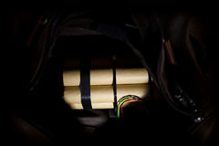 Time bomb placed in bag. Stock Images