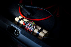 Time bomb placed in car. Royalty Free Stock Photos