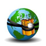 Time Bomb Strapped To Earth. An illustration featuring the planet Earth strapped with a time bomb Stock Images