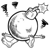 Time bomb of stress sketch. Doodle style ticking time bomb of stress illustration in vector format Stock Image
