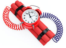 Time bomb on white. 3d illustration of bomb with clock timer Stock Image