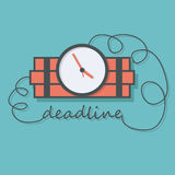 Time bomb with wire as deadline words. Royalty Free Stock Image