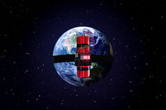 Time bomb with a world globe Royalty Free Stock Photo