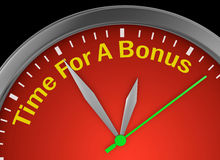 Time for a bonus. Word on concept clock 3d rendering royalty free illustration