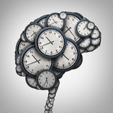 Time Brain. Thinking concept as a group of clock objects shaped as a human mind as a business punctuality and appointment stress metaphor or deadline pressure royalty free illustration