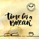 Time for a break illustration for social media, office posters. Positive reminder to make a pause at work. Hand Stock Photo