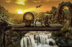 Time bridge. Greybeard on the time bridge Concept (Everything is not what it appears, and not vice versa royalty free stock photo