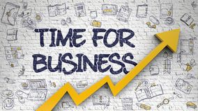 Time For Business Drawn on White Brickwall. 3d. Time For Business - Increase Concept. Inscription on White Brickwall with Hand Drawn Icons Around. Time For stock illustration